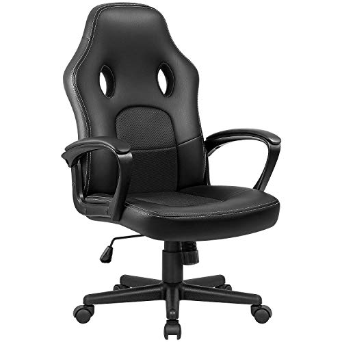 VICTONE Gaming Stuhl Racing Bürostuhl Schreibtischstuhl Pu Leder Computerstuhl Ergonomischer Pc Stuhl Höhenverstellbarer Drehstuhl (Schwarz)