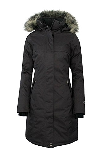COLUMBIA Women's Flurry Run Down Long Omni Heat Jacket Coat Hooded Parka (M) black