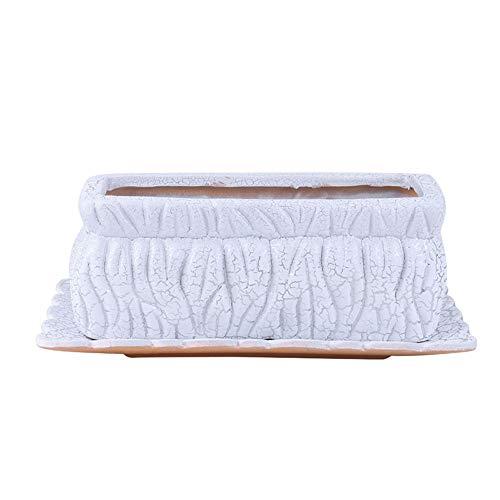 Bcaer Maceta rectangular de cerámica de grieta plateada para interiores y exteriores, moderna decoración del hogar, maceta para plantas, manualidades, recuerdo de boda