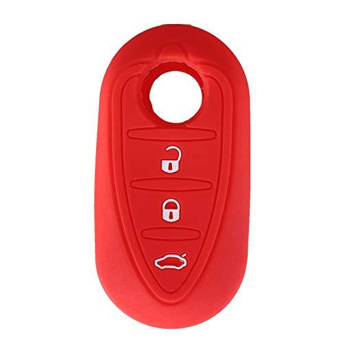 FBFGSilicone Car Key Cover Case para Alfa Romeo Mito Giulietta 159 GTA Shell Blank Fob Auto Parts 3 Botones Rojo