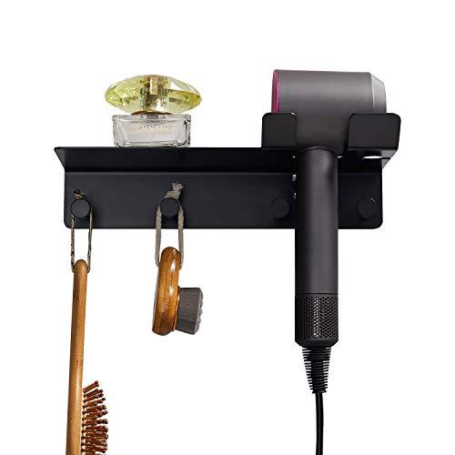 Hair Dryer Holder Hair Dryer Holder with Shelf and Hook Stainless Steel 304 Black for Bathroom Organizer Wall Mount