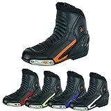 RXL Botas de motocicleta impermeables para hombre, de piel antideslizante, protección máxima (negro/naranja, 7 Reino Unido), 7)