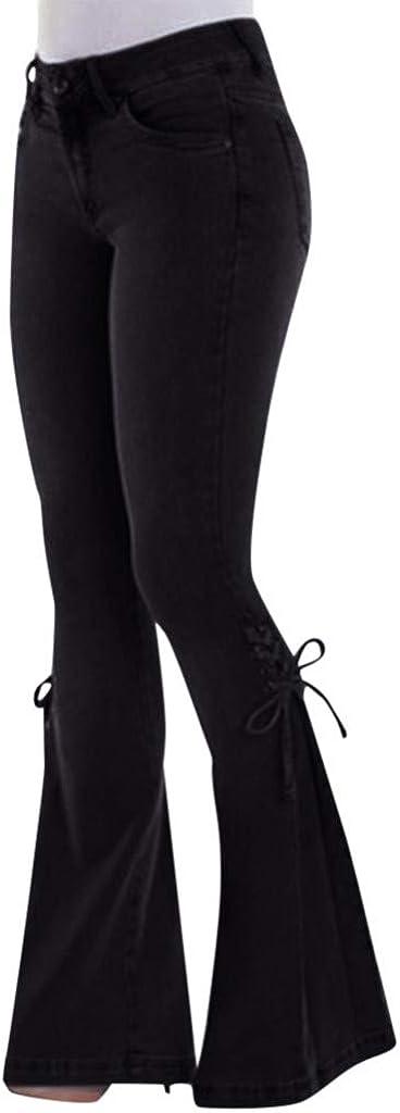 USYY Women's Elastic Plus Size Denim High Waist Bell Bottom Casual Loose Summer Autumn Flare Jeans