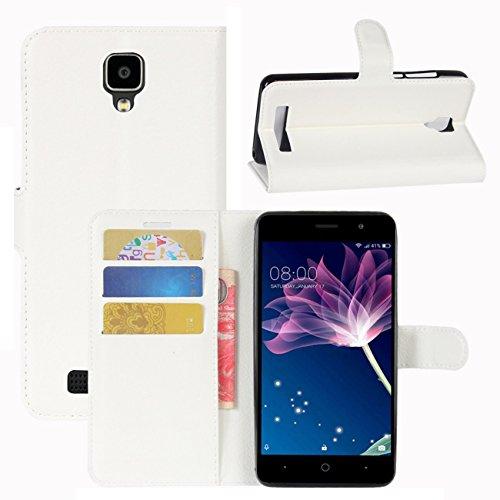 HualuBro Doogee X10 Hülle, [All Aro& Schutz] Premium PU Leder Leather Wallet HandyHülle Tasche Schutzhülle Flip Hülle Cover für Doogee X10 Smartphone (Weiß)