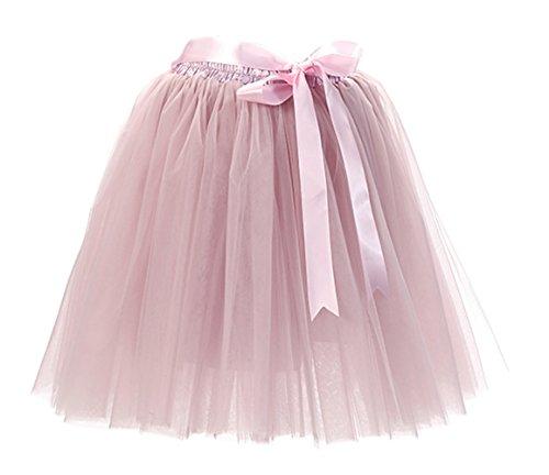 URVIP Damen\'s Rock Tutu Tütü Petticoat Tüllrock 7 Schichten mit Gummizug für Karneval, Party und Hochzeit Grau Rosa One Size