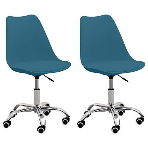 vidaXL Silla giratoria de oficina (2 unidades, altura regulable, piel sintética), color azul turquesa