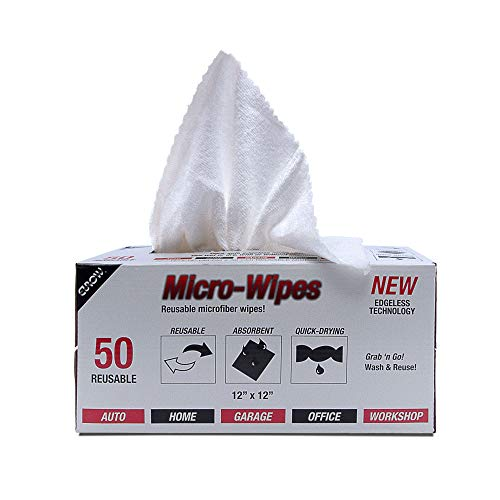 Eurow Microfiber Wipe and Clean Cloths 12' x 12' with Dispenser Box 50 Pack