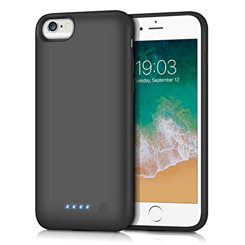 Battery Case for iPhone 6s, 6000mAh Portable Charging Case for iPhone 6s Rechargeable External Battery Pack Charger Case Protective Extended Battery(4.7 inch)-Black