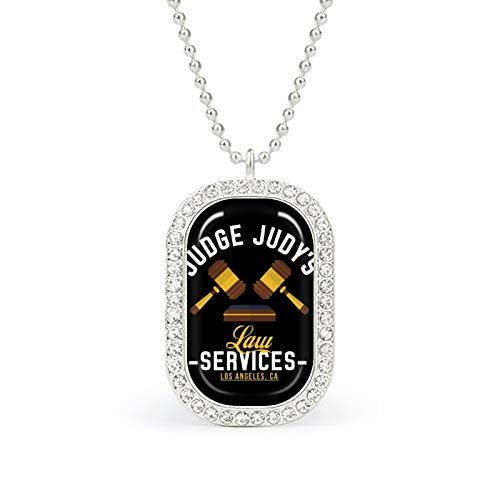 Judge Judys Law Services white necklace Christmas Jewelry Gifts Birthday Gifts for ladies and girls with square pendant