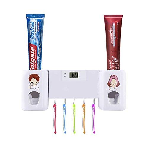 Dispensador de pasta de dientes automático de Puersit, manos libres, doble, con reloj digital, juego de accesorios para el baño, para niños y adultos
