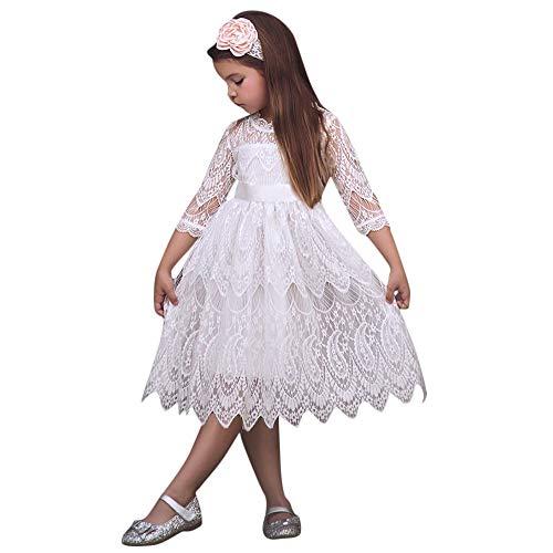 Baby Prinzessin Kleider, Kleinkind Kinder 3/4 Hülse Bogen-Knoten Spitze Blume Tüll Einfarbig Party Pageant Kleidung Abend Tragen(Weiß,140)