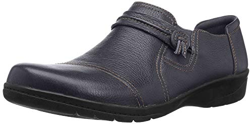 Clarks Women's Cheyn Madi Loafer, Navy Tumbled Leather, 80 M US