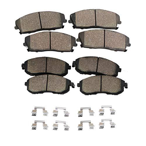 Detroit Axle - FRONT & REAR Ceramic Brake Pads w/Hardware Kit Not for Brembo Brakes or Spec-V Models