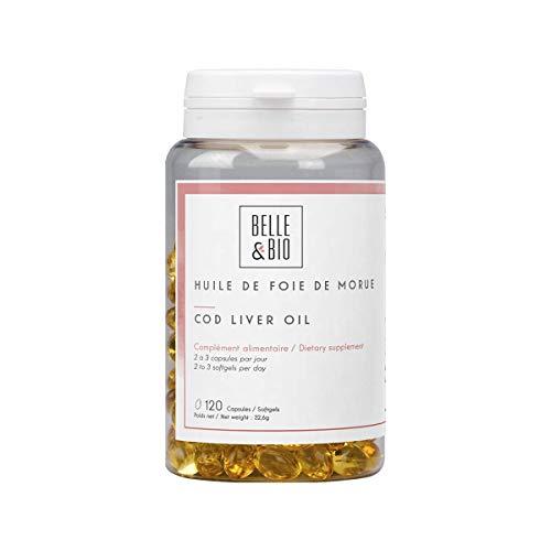 Belle&Bio Huile de Foie de Morue - 270 mg/capsule - Vitamines A et D - Fabriqué en France