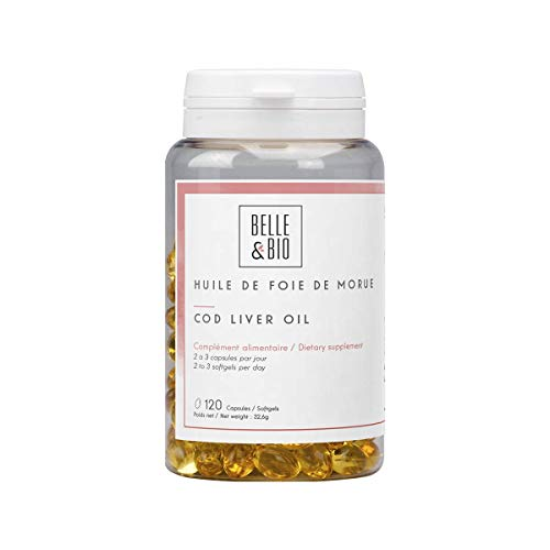 Belle&Bio Huile de Foie de Morue - 120 capsules - 270 mg/capsule - Vitamines A et D - Fabriqué en France, Jaune, 120.0 unité