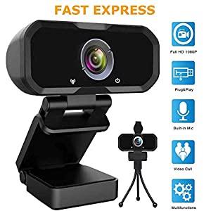 Webcam 1080p HD Computer Camera – Microphone Laptop USB PC Webcam, HD Full Gaming Computer Camera, Recording Pro Video Web Camera for Calling, Conferencing, 110-Degree Live Streaming Widescreen Webcam
