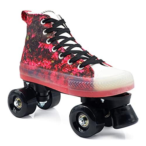 Canvas Quad Roller Skates Patines De Ruedas Para Hombres Y Mujeres, Patines De Doble Fila Con Estilo De Zapato Alto Para Niños Principiantes Patines De Interior Al Aire Libre Con Bolsa A,43