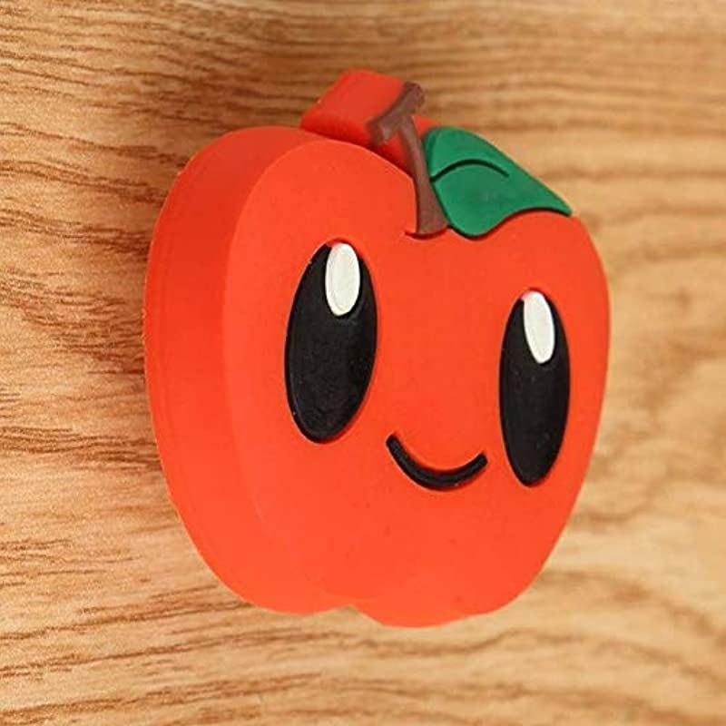 Kid S Knobs Cute Cartoon Children Room Soft Rubber Safety Handle Red Black White Strawberry Crown Apple Drawer Shoe Cabinet Knob Color Apple