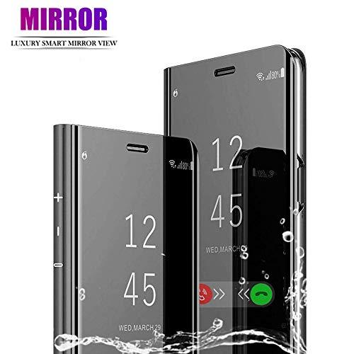 HEYB für Motorola Moto G8 Plus Hülle, Plating Smart Mirror case Clear View Standing Handyhülle mit Standfunktion Tasche Cover Handytasche Schutzhülle für Motorola Moto G8 Plus