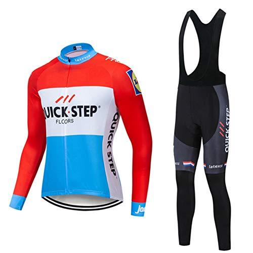 AJO Maglie da Ciclismo a Manica Lunga per Uomo PRO Racing Club, Winter Quick · Step Abbigliamento Sportivo da Ciclismo Classico, Bici da Corsa per Esterni Tute Ciclismo MTB Anti-UV Rosso e Blu