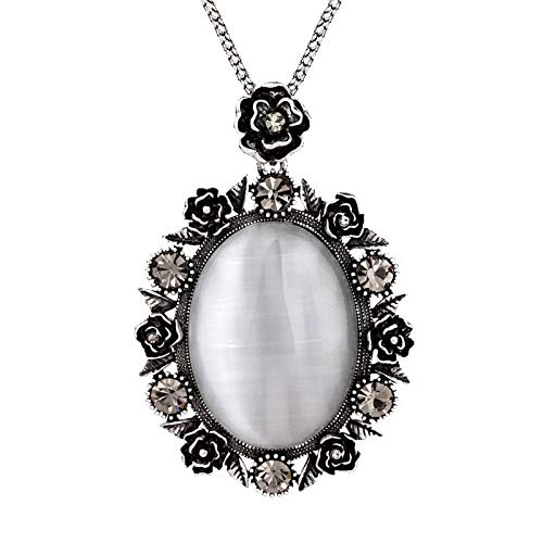 DYFUHO White Opal Long Necklace With Big Pendant,black Rhinestone Rose Flower Necklaces For Women,christmas Anniversary Birthday Gifts For Women(8cmx5cm,38g)