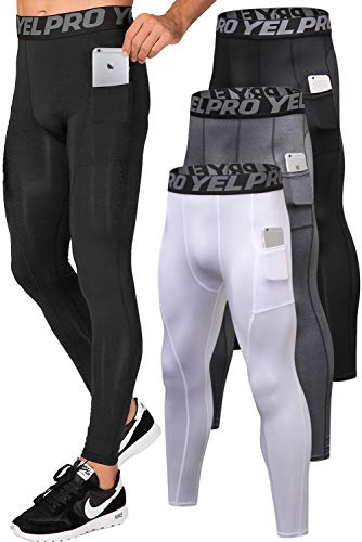 Lavento Men's Compression Pants Running Tights Leggings with Phone Pockets (3 Pack-3911 Black/Gray/White,Large)
