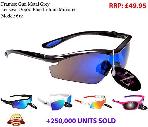 Rayzor Profesional ligeros Gunmetal gris UV400 Deportes Wrap Running Gafas de sol, con un azul Iridium antideslumbrante Lente Revo 1 pieza