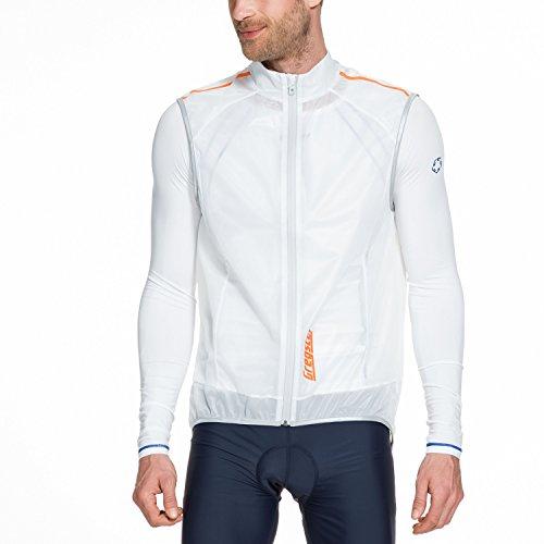 Gregster Gilet Ciclismo Uomo Antivento, Smanicato con Zip e Tasca Posteriore, Bianco