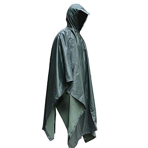 Poncho Impermeable, EONANT Ripstop Raincoat Impermeable Camuflaje Militar Capa de lluvia con Capucha para el Deporte al Aire Libre (Ejercito Verde)
