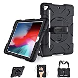 SUPFIVES iPad Air 2/9.7 Case 2018 2017, iPad 6th Generation Case Cover Handle Rugged Protective Case with 360 Stand+Hand Strap+ Shoulder Strap+Pencil Holder, Model A1893/A1954/A1822/A1823 (Black)