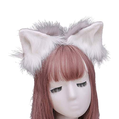 Qiman Diadema de pelo sinttico con orejas de lobo, simulacin de peluche, para Halloween, cosplay, fiestas, disfraz, tocado