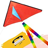 emma kites Fun Color Delta Kite Easy for Beginners Kids Adults Great Family Out Games Park Beach Sports, with 300Ft Kite Line and Rainbow Kite Tail Orange