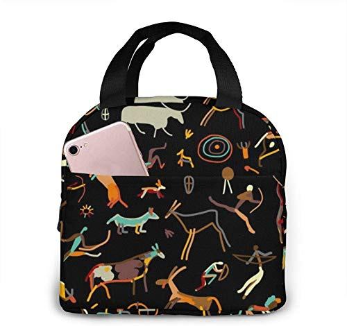 Rock Paintings with Ethnic People Cute Lunch Bag for Women Men,Insulated Lunch Tote Bag Oxford Cloth Thermal Meal Prep Lunch Organizer for Office Work Picnic,Reusable Lunch Cooler Tote