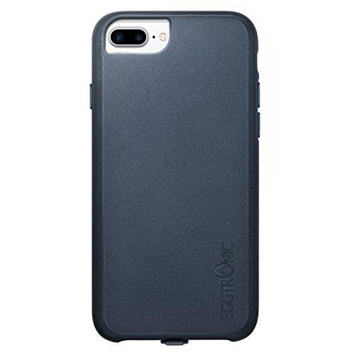 Eggtronic Leather Wireless Charging Case - Cover Ricarica Wireless in Pelle Universale per iPhone 6 Plus / 6S Plus / 7 Plus (Dark Blue - Blu)