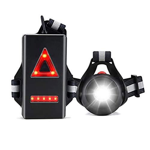 Ettzlo Luces para Correr para Corredores Luz de Pecho para Correr Luz de Advertencia de Funcionamiento Nocturno Recargable por USB con ángulo de Haz Ajustable de 120 ° para Hombres y Mujeres