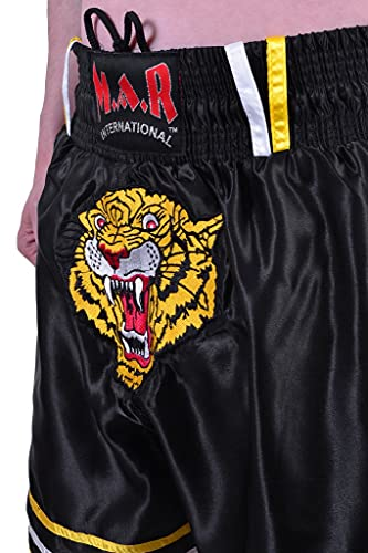M.A.R International Ltd. Kick Boxing & Thai Boxing Shorts Kickboxing Bottoms Mma Pants Boxing Clothing Muay Thai K1 Gear Polyester Satin Fabric Black Child Large/X Small