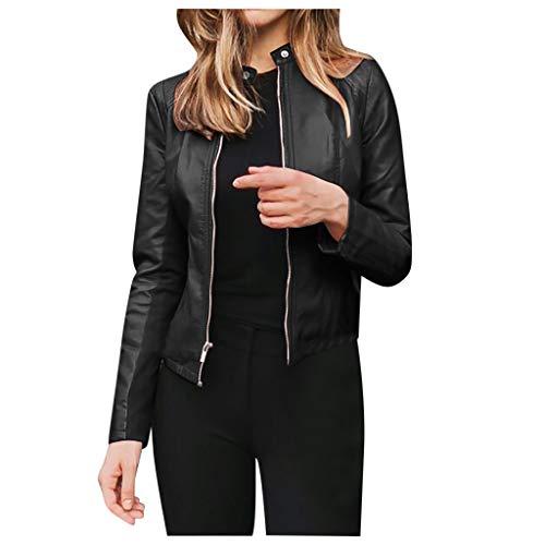HWTOP Lederjacke Damen Revers Motor Jacke Mantel Zip Biker Kurz Punk Cropped Tops Slim Streetwear Große Größen Outwear Coat Freizeitjacke, Schwarz, XL