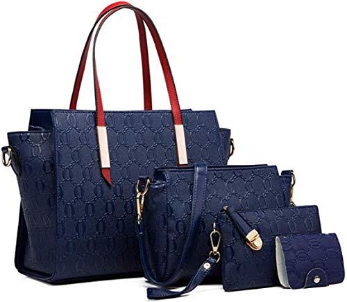 Rain Bolsos de Cuero de imitación de Lluvia para Mujer Bolsos de Hombro Portatarjetas de Monedero, Azul Marino