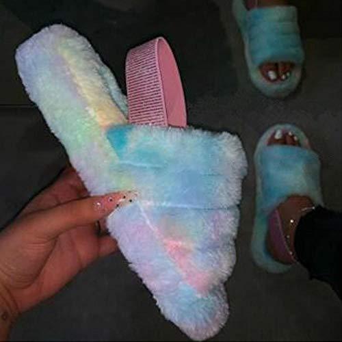 YANSHOU Slippers Suave Algodón Zapatilla Pareja Zapatos,Pantuflas de Felpa de algodón, Plataforma Tacones andrajosos-Azul Claro_41,Caliente Forro Pantuflas
