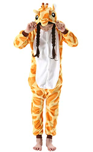 Jumpsuit Onesie Tier Fasching Karneval Halloween Kostüm Kinder Mädchen Junge Sleepsuit Overall Pyjama Unisex Lounge Cosplay Schlafanzug Giraffe for Höhe 90-148CM