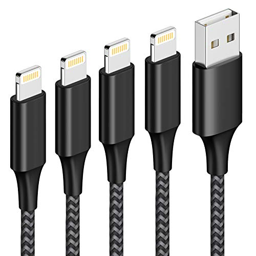 Cable iPhone Cable Lightning [4Pack 0.3M 1M 2M 3M] Cargador iPhone Carga Rápida Trenzado de Nylon Compatible con Apple iPhone 11 Pro XS MAX XR X 8 Plus 7 Plus 6S 6 Plus 5 5S 5C SE, iPad-Negro
