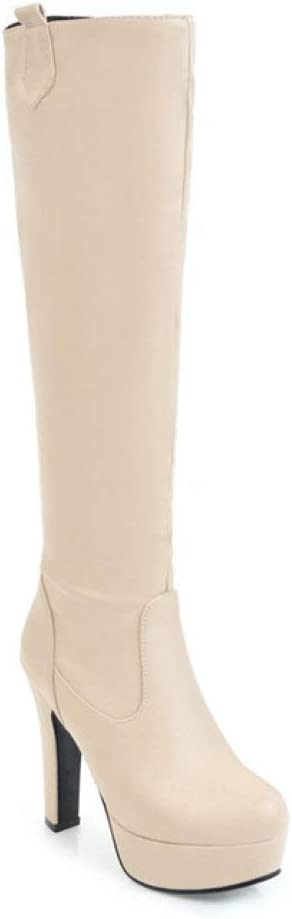 الكعب العالي للمرأة Women's Stiletto High Heel Knee High Boots Slouchy Round Toe Thin Heels Platform Riding Boots (Color : Beige Velvet Lining, Size : 8)