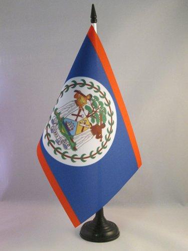 AZ FLAG Bandera de Mesa de Belice 21x14cm - BANDERINA de DESPACHO BELICEÑA 14 x 21 cm