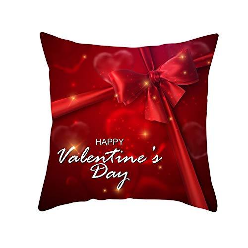 Fundas de Cojines Funda de Cojín Día de San Valentín Cojines Decoracion Terciopelo Suave Fundas de Almohada Cuadrado para Sofá Cama Sillas Coche Dormitorio Decorativo Hogar M1907 Pillowcase,60x60cm