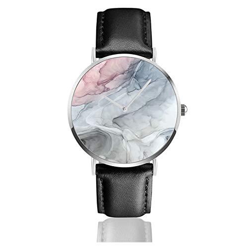 Pastel Blush gris y azul nubes de tinta pintura reloj cuarzo movimiento impermeable correa de reloj para hombres mujeres simple negocios casual reloj