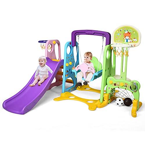 Goplus Set Scivolo 6 in 1 per Bambini, Scivolo Grande con Altalena e Canestro, Parco Divertimenti per Casa e Giardino, Colori Vivaci, di HDPE, 209x174x115 cm