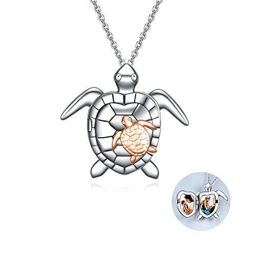 Schildkröten Medaillon Halskette Sterling Silver Damen Kette mit Foto niedlicher Tieranhänger Schmuck Geschenke für Frauen Mutter Tochter (Rosegold turtle)