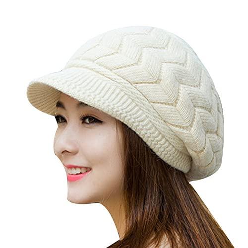 Gshy - Gorras de invierno para mujer, cálidas, de lana de punto