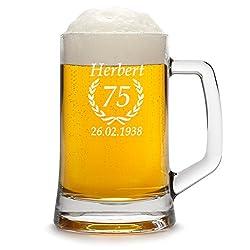 polar-effekt Bierkrug Personalisiert mit Gravur eines Namens, Jahreszahl und Geburtsdatum - Bierseidel Geschenk zum Geburtstag - Motiv Ährenkranz 0,5l
