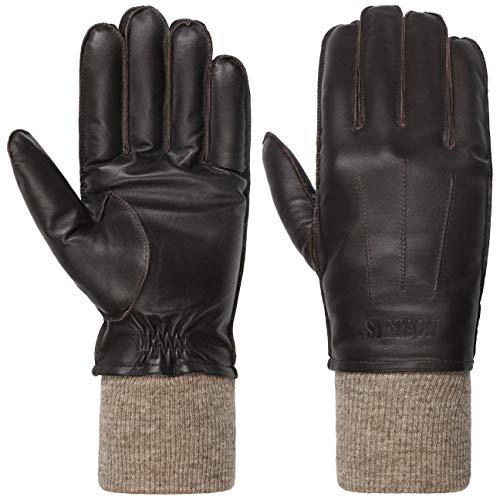 Stetson Sheepskin Lederhandschuhe Herren - Gefüttertert mit Wolle - Winterhandschuhe aus 100% Leder - Warme Handgelenke durch Strickbund - Fingerhandschuh Herbst/Winter braun 9 HS